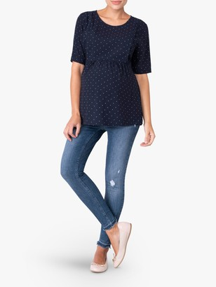 Séraphine Seraphine Panelled Spot Print Maternity and Nursing Top, Navy