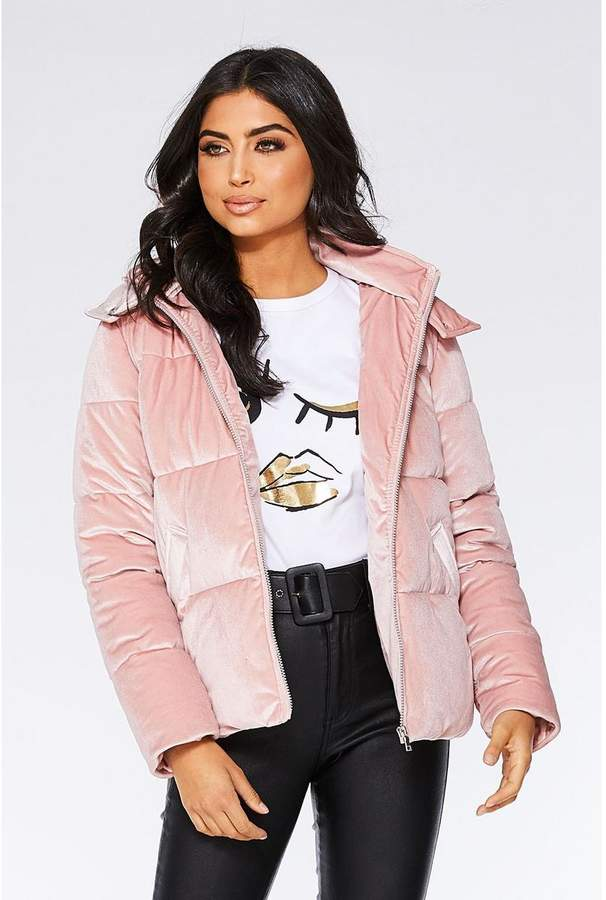 Quiz Dusky Pink Velvet Puffer Jacket