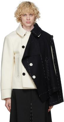 Maison Margiela Off-White and Black Melton Cloth Jacket