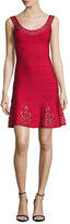 Herve Leger Grommet-Studded Bandage Dress, Red