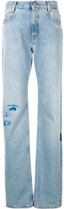 Off-White Face-Print Straight Leg Jeans