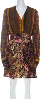 Christian Lacroix Vintage Multicolor Printed Crepe Short Dress M