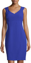 Andrew Marc Sleeveless V-Neck Sheath Dress, Blue Violet