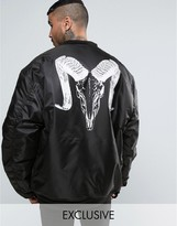 Reclaimed Vintage Inspired Super Oversized Bomber Jacket In Black With Ram Back Print