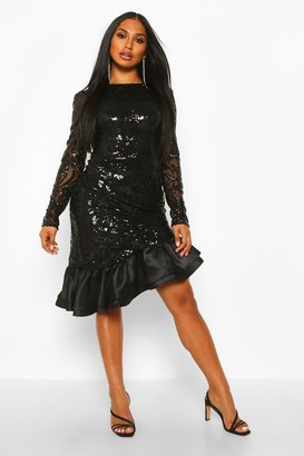 boohoo Sequin Baroque Ruffle Mini Dress