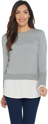 Vince Camuto Long Sleeve Crew Neck Sweater w/ Soft Texture Hem