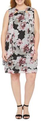 SL Fashions S. L. Fashions-Plus Sleeveless Beaded Floral Shift Dress