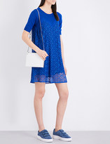 Sandro Pleated floral-lace and knitted dress