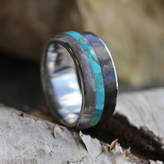 Etsy Gibeon Meteorite and Dinosaur Bone Wedding Band with Turquoise Center Stripe, Titanium Ring, Men's T