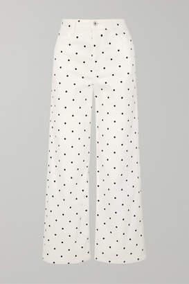 Eve Denim Charlotte Polka-dot High-rise Wide-leg Jeans - White