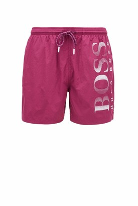 HUGO BOSS Mens Octopus Quick-Drying Swim Shorts with Contrast Logo Black