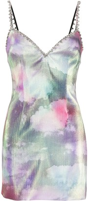 Area Crystal-Trim Cloud-Print Dress