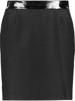 Love Moschino Faux patent leather-trimmed wool-blend mini skirt