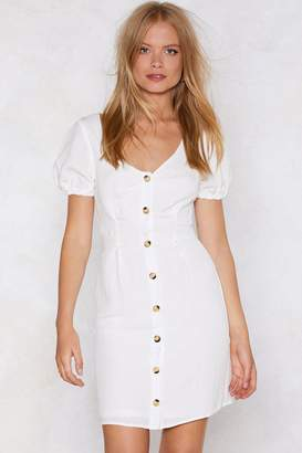 Nasty Gal Womens Puff Up The Volume Button Dress - White - S