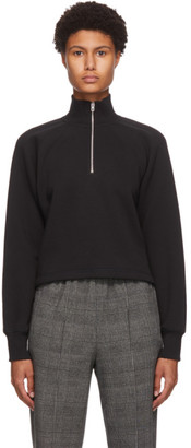 Rag & Bone Black Fleece Cut-Off Half-Zip Sweater