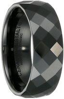 Black Ceramic Ring by CERAMIC GESTALT® - 8mm . Faceted Design (Size 5 to 14) SZ 13 - RBL8F13
