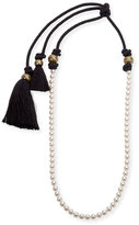 Lanvin Long Pearly Necklace with Tassel Ends, 39.5""