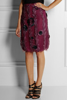 Christopher Kane Floral feather-appliqué tulle skirt