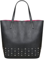 Yours Clothing Black Shopper Bag With Bright Pink Lining & Eyelet Details