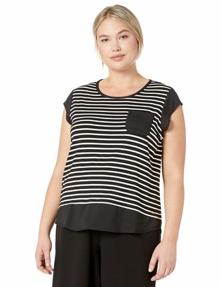 Calvin Klein Women's Plus Size Layered Mixed Media T-Shirt