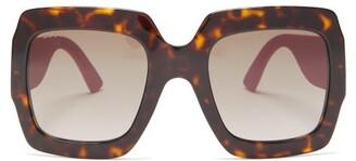 Gucci Glitter-temples Square Acetate Sunglasses - Womens - Pink Multi