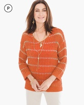 Chico's Shine Striped Charlotte Pullover