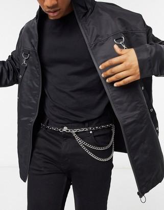 ASOS DESIGN skinny chunky chain belt in silver