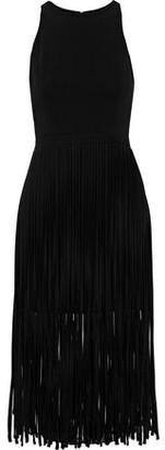 Halston Fringed Crepe Mini Dress