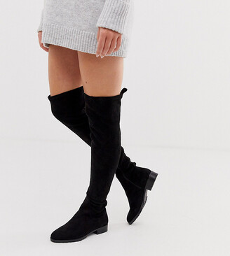 Raid Wide Fit Leyana black flat over the knee boots