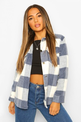 boohoo Petite Check Wool Look Shacket