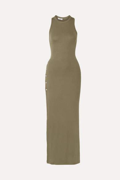 Alix Beekman Ribbed Stretch-modal Jersey Maxi Dress - Army green