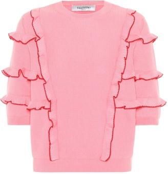 Valentino Ruffle-trimmed cotton sweater