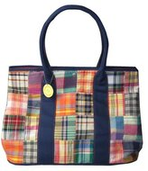 C-Red Preppy Madras Large Carry All Tote