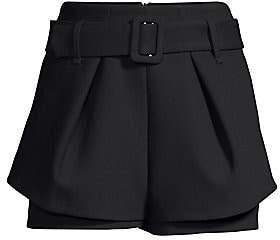 Maje Women's Tiered Hem Belted Shorts