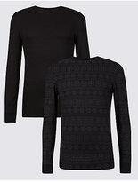 M&S Collection 2 Pack HeatgenTM Fairisle Long Sleeve Vests