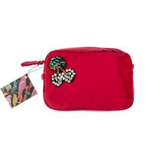 Red Velvet Bag With Crystal Cherries Brooch