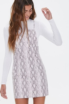 Forever 21 Snakeskin Print Overall Dress
