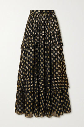 Etro Tiered Metallic Fil Coupe Silk-blend Georgette Maxi Skirt - Black