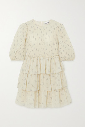 Ganni Tiered Ruffled Floral-print Georgette Mini Dress - Ivory
