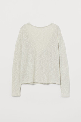 H&M Lace-trimmed Sweater - Beige
