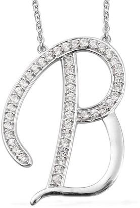 Shop Lc Silver Initial B Alphabet Pendant 20 Inch Zircon Chain Necklace Ct 1.1 - Size 20''