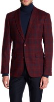 Tommy Hilfiger Ethan Red Windowpane Two Button Notch Lapel Classic Fit Sport Coat