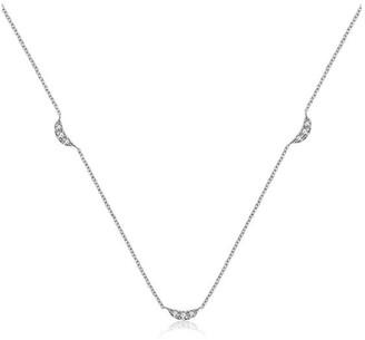 Genevieve Collection 18K White Gold Moon Shape Diamond Necklace / Choker