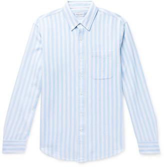 Club Monaco Button-Down Collar Striped Waffle-Knit Cotton Shirt