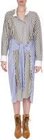 Loewe Mixed-Stripe Midi Shirtdress, Multi Pattern