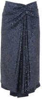 Sies Marjan Kayla Draped Sequinned Midi Skirt - Womens - Navy
