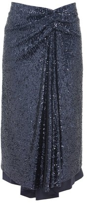 Sies Marjan Kayla Draped Sequinned Midi Skirt - Navy