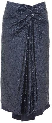 Sies Marjan Kayla Draped Sequinned Midi Skirt - Womens - Navy