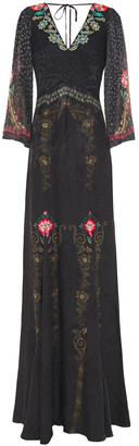 Etro Embroidered Jacquard And Fil Coupe Printed Chiffon Maxi Dress