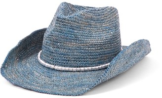 Physician Endorsed Women's Sierra Crochet Raffia Cowboy Sunhat Adjustable and UPF Rated